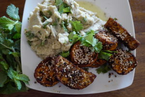 Sesame sweet potato wedges with mashed eggplant and chickpeas, and herbs by Foodjoya