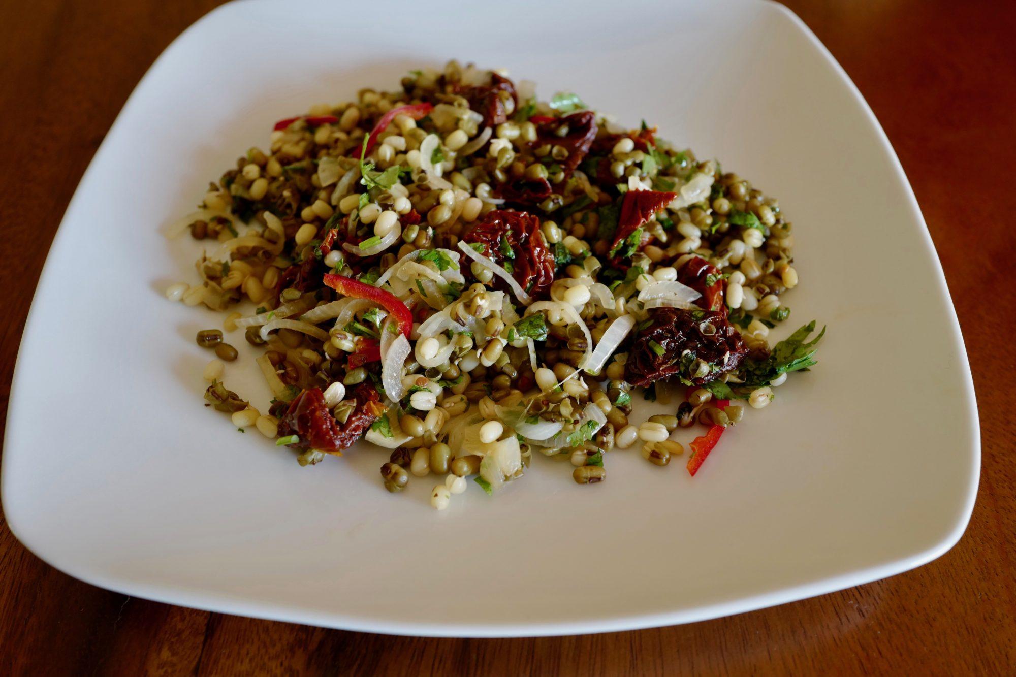Mung bean salad with sun-dried tomatoes gluten-free vegan by Foodjoya