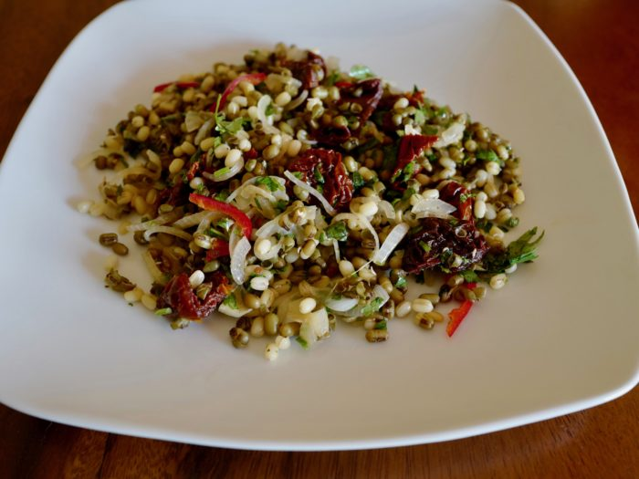 Mung bean salad with sun-dried tomatoes gluten-free vegan by Foodjoya
