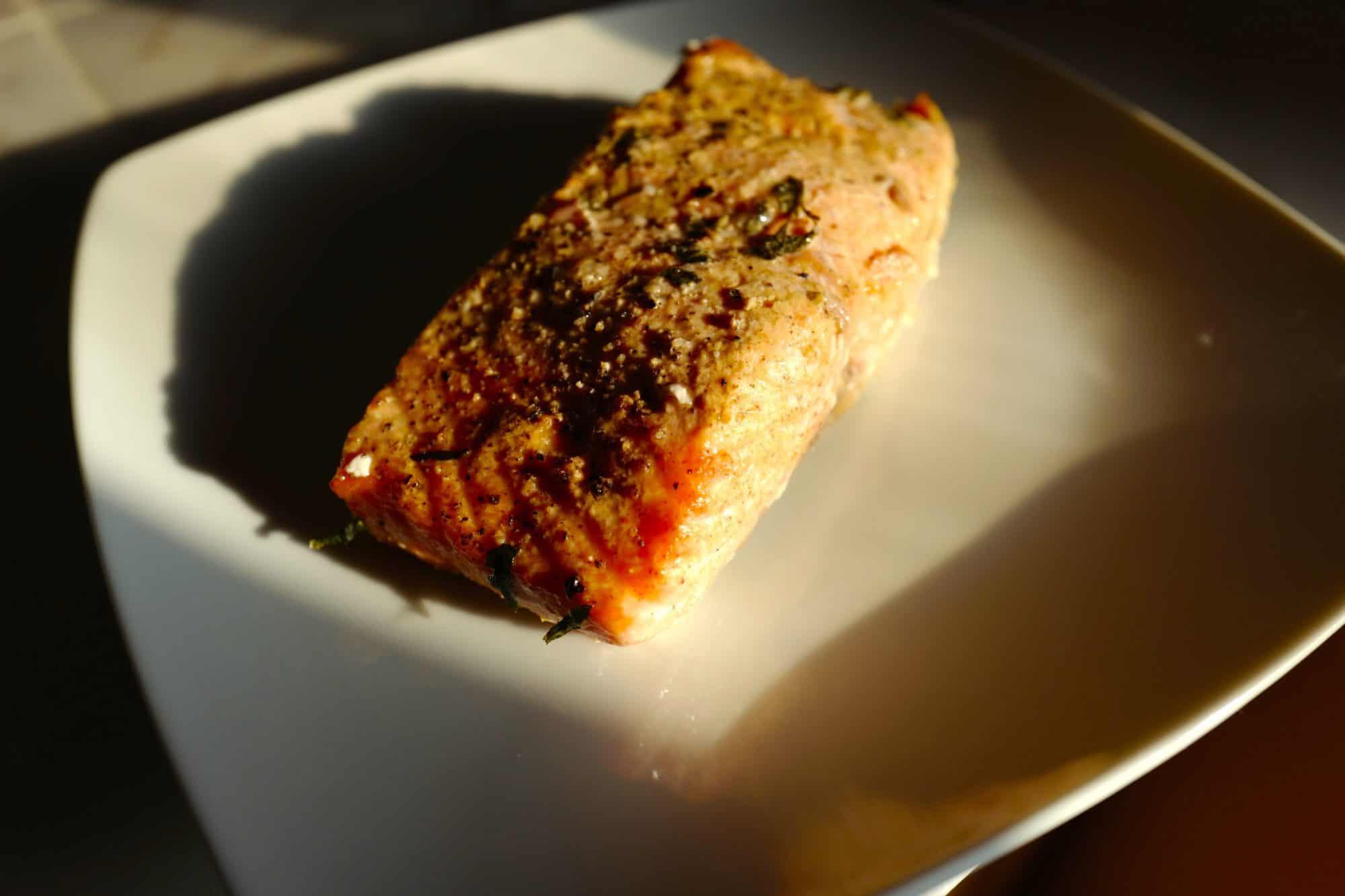 Atlantic salmon roasted in savory glaze by Foodjoya