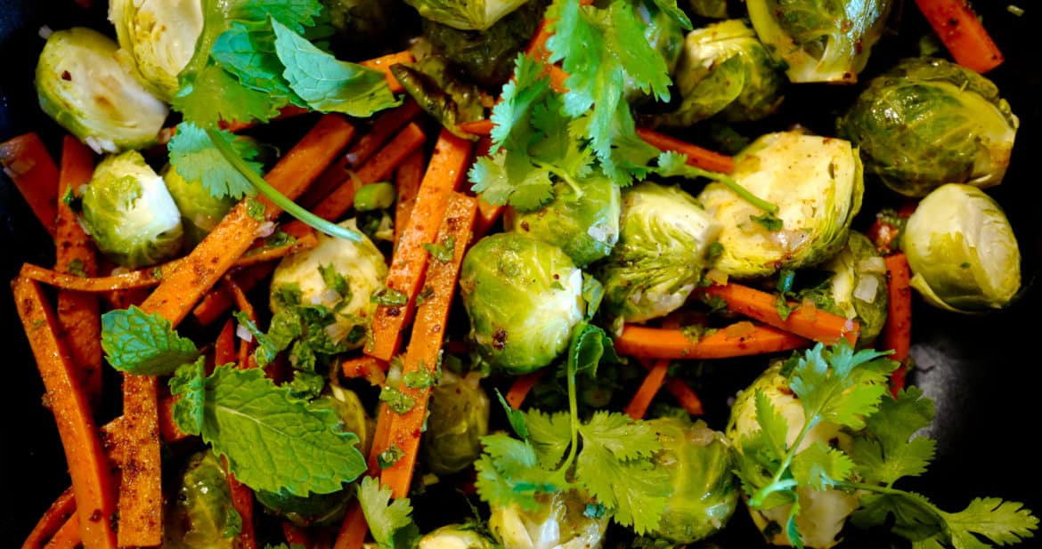 Roasted Brussel Sprouts with Spicy Carrots, Herbs, Lime Juice by Foodjoya