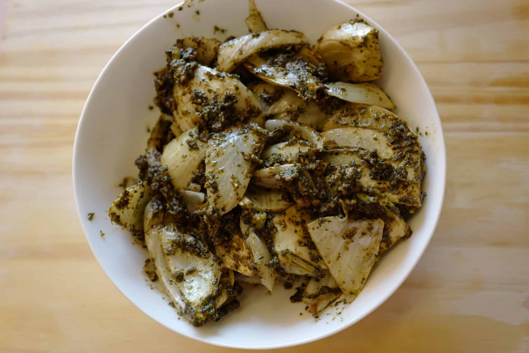Roasted Fennel + Pesto with Pistachio and Mint by Foodjoya