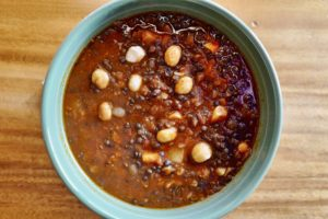 Vegan Black Lentil Soup with orange zest and ginger, Ali Güngörmüs inspired, by Foodjoya